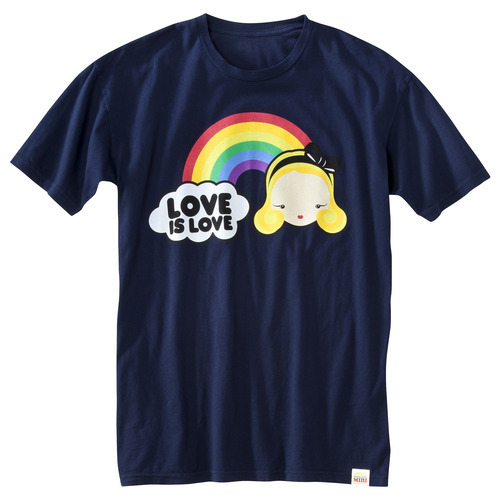 This undated photo provided June 1, 2012, by Target Corp. shows one of the T-shirts target is selling to raise money for a group working to defeat a gay marriage ban in Minnesota. The Minneapolis-based retailer is taking heat from same-sex marriage opponents in its home state, where voters will decide this November whether to put a gay marriage ban into the state constitution. (AP Photo/Target Corp., Paul Weber)