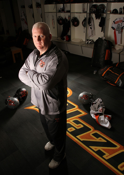 Francisco Kjolseth  |  The Salt Lake Tribune Ron James, coach and team president of the Utah Blaze, has helped create the organization in his own image: sharp, professional, and with moves that don't always seem savvy at first but can turn out well.
