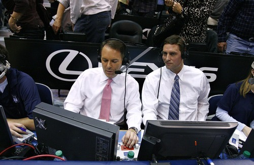 Djamila Grossman  |  The Salt Lake Tribune  Brigham Young University broadcasters Andy Toolson and Dave McCann, left, work during a BYU basketball game against the University of Arizona in Salt Lake City, on Saturday, Dec. 11, 2010.