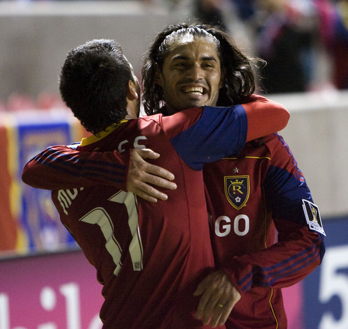 Steve Griffin  |  The Salt Lake Tribune   Real Salt Lake's Javier Morales, left, gets a big hug from teammate Fadian Espindola after scoring a goal during first-half action in the CONCACAF Champions League quarterfinal game between Real Salt Lake and Columbus at Rio Tinto Stadium in Sandy on Tuesday, March 1, 2011.