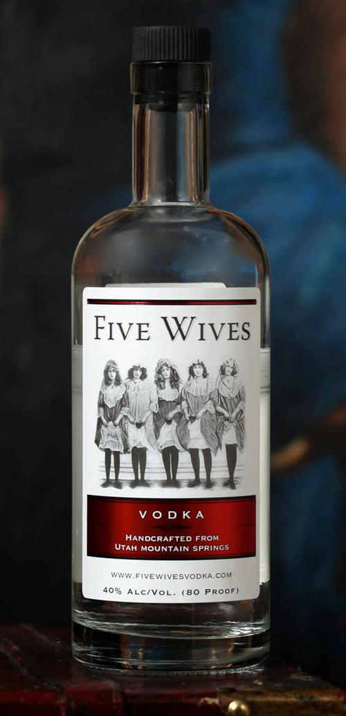 This image provided by Ogden's Own distillery shows a bottle of Five Wives Vodka. The Idaho State Liquor Division says the vodka won't be stocked or special ordered at stores operated by the state of Idaho, claiming the brand is offensive to Mormons who make up over a quarter of the state's population. Five Wives Vodka has been approved for sale in Utah, a state dominated by members of The Church of Jesus Christ of Latter-day Saints. (AP Photo/Brian Skoloff)