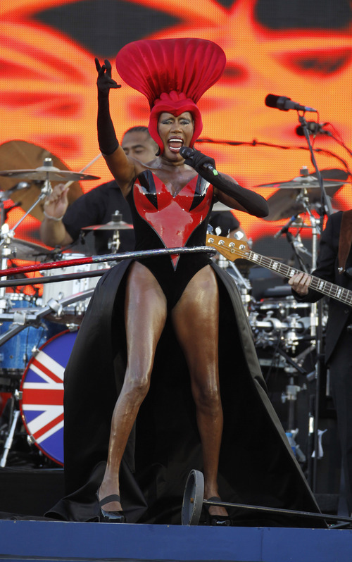 Grace Jones performs at the Queen's Jubilee Concert in front of Buckingham Palace, London, Monday, June 4, 2012. The concert is a part of four days of celebrations to mark the 60 year reign of Britain's Queen Elizabeth II. (AP Photo/Joel Ryan)