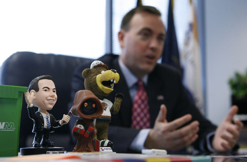 Francisco Kjolseth  |  The Salt Lake Tribune With a bobble head of himself on his desk, West Valley City Mayor Mike Winder talks about his plans for candidacy in a run for Salt Lake County mayor during interview May 23, 2012.