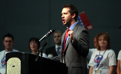 Francisco Kjolseth  |  The Salt Lake Tribune Ryan Combe running for Congress in hopes of taking on Rob Bishop speaks during the Utah Democratic convention at the Calvin L. Rampton Salt Palace Convention Center on Saturday, April 21, 2012, where candidates for congressional and legislative races are elected for next November.