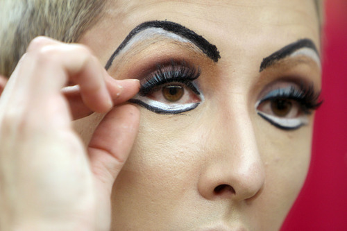 Francisco Kjolseth  |  The Salt Lake Tribune Whipping some lash: No East German transsexual rock star is complete without big eyes to bat.