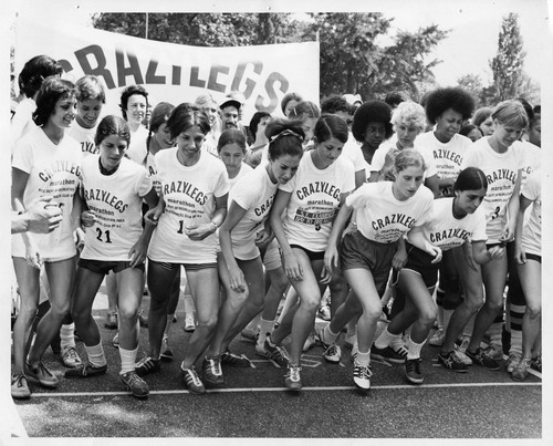 Courtesy photo Women runners wait for the starting gun in the first running of the six-mile Mini through New York's Central Park in 1972. The race is now a 10K and celebrates its 40th anniversary this year. Jacki Dixon, now of West Jordan, is the fifth from the left in the first row (No. 5). She came away with the first-place trophy.