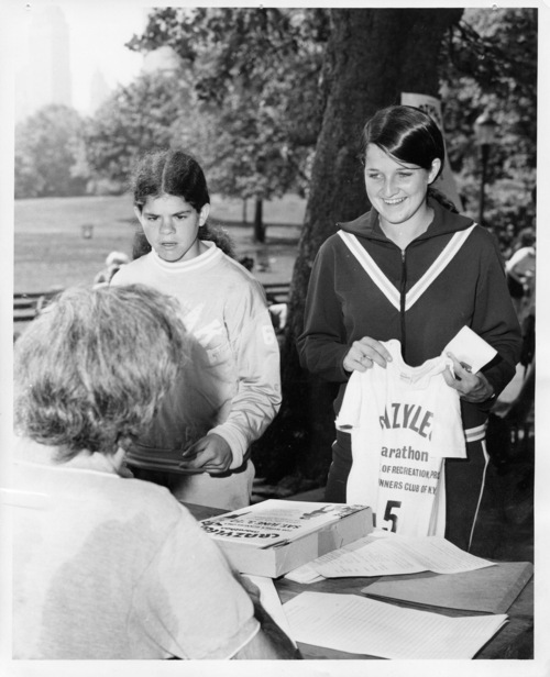 Courtesy photo Seventeen-year-old Jacki Dixon, right, checks in for the first  women's long distance race in the country. The year was 1972, the place New York City's Central Park, the six-mile race the Crazylegs Mini, named for Crazylegs shaving gel and the trending miniskirt.