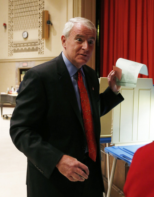 Wisconsin Democratic gubernatorial candidate Tom Barrett casts his ballot Tuesday, June 5, 2012, in Milwaukee. Barrett is facing Republican Wisconsin Gov. Scott Walker in a recall election. (AP Photo/Jeffrey Phelps)