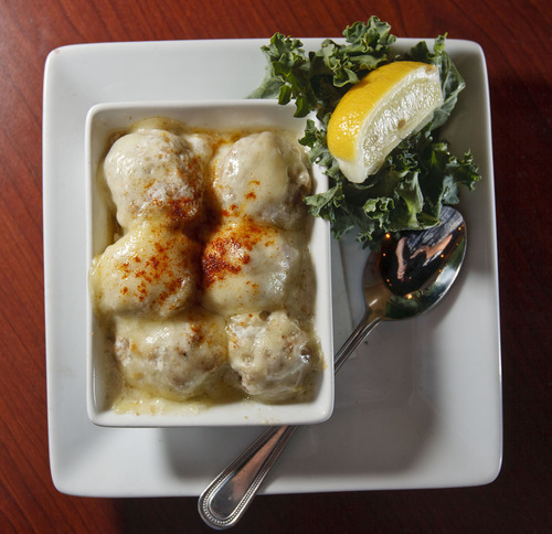 Trent Nelson  |  The Salt Lake Tribune Crab stuffed mushrooms at Stockmens Steakhouse of West Valley City in West Valley City.