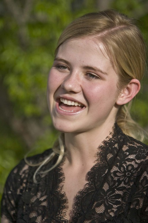 On,  Monday,May 19, 2008, Elizabeth Smart talks to the media outside her grandmother's home in Salt Lake City about the survival guide for abduction victims that she helped write. Monday, May 19 2008. Paul Fraughton /The Salt Lake Tribune 2008
