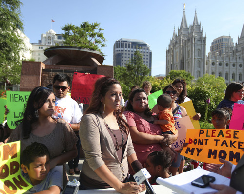 Lennie Mahler  |  Tribune file photo Sisters Silvia, Barbara and Laura Avelar have been given a reprieve from their June 15 scheduled deportation to Mexico. Monday, the three held a news conference outside LDS Temple Square in Salt Lake City to plead for help in their case.