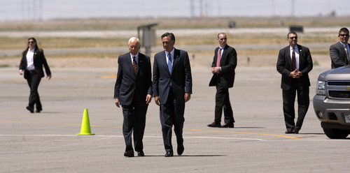 Francisco Kjolseth  |  The Salt Lake Tribune Surrounded by Secret Service, Republican presidential candidate Mitt Romney arrives in Salt Lake City on Friday, June 8, 2012, for a campaign stop and to raise funds for Sen. Orrin Hatch.