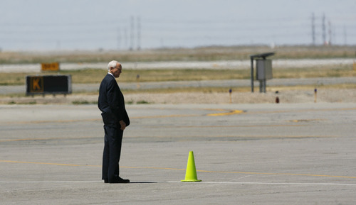 Francisco Kjolseth  |  The Salt Lake Tribune Sen. Orrin Hatch waits on the tarmac for the arrival of Republican presidential candidate Mitt Romney in Salt Lake City on Friday, June 8, 2012. Romney is in Salt Lake for a campaign stop and to raise funds for Hatch.
