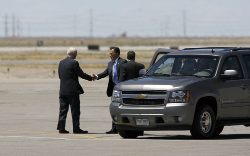 Francisco Kjolseth  |  The Salt Lake Tribune Sen. Orrin Hatch greets Republican presidential candidate Mitt Romney as he arrives in Salt Lake City on Friday, June 8, 2012, for a campaign stop and to raise funds for Hatch.