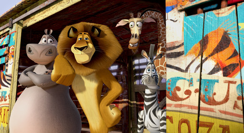 This film image released by DreamWorks Animation shows, Gloria the Hippo, voiced by Jada Pinkett Smith, from left, Alex the Lion, voiced by Ben Stiller, Melman the Giraffe, voiced by David Schwimmer, and Marty the Zebra, voiced by Chris Rock in a scene from