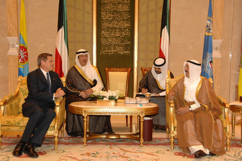 Courtesy photo U.S. Ambassador Matthew Tueller visits with Kuwaiti dignitaries, including the nation's leader (far right) Emir Sabah Al-Ahmad Al-Jaber Al-Sabah.