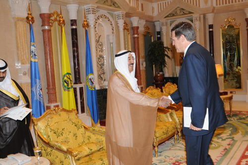 Courtesy photo U.S. Ambassador to Kuwait Matthew Tueller presents his credential to Sabah Al-Ahmad Al-Jaber Al-Sabah, the Kuwaiti emir.