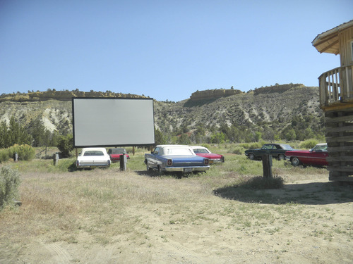 Tom Wharton  |  The Salt Lake Tribune Shooting Star Drive-in owner Mark Gudenas has created his own outdoor movie theater complete with vintage convertibles.