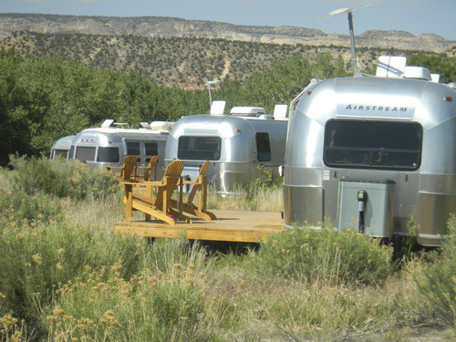 Tom Wharton  |  The Salt Lake Tribune Airstream trailers are decorated to honor various movie stars at the Shooting Star Drive-In near Escalante.