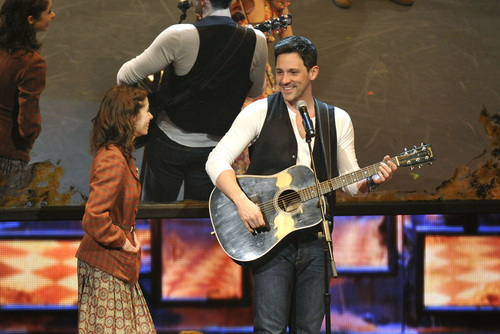 Cristin Milioti, left, and Steve Kazee perform in a scene from