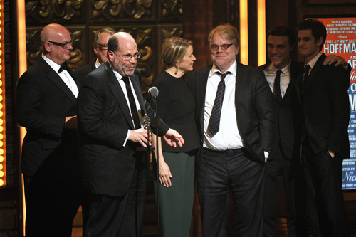 Producer Scott Rudin, second left, and the cast of