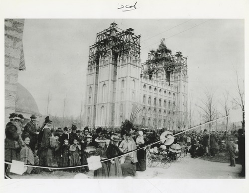 Tribune file photo  People gather on Temple Square in this undated photo from the late 1800s.