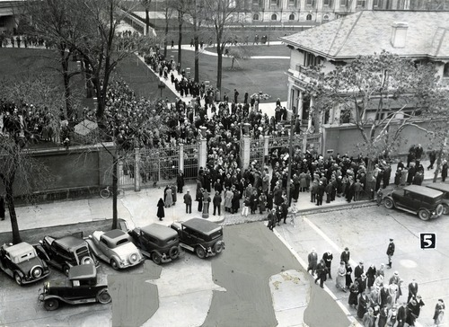 Tribune file photo  A crowd gathers on Temple Square during the LDS Church's General Conference on April 5, 1935.