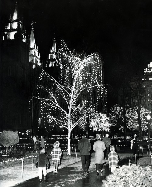 Tribune file photo  People view the Christmas lights at Temple Square in 1966.