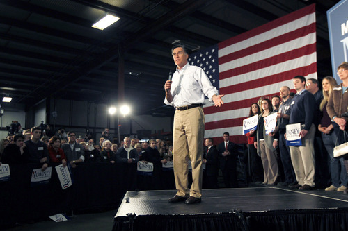 Republican presidential candidate, former Massachusetts Gov. Mitt Romney speaks in Albion, Mich., Monday, Feb. 27, 2012. (AP Photo/Gerald Herbert)