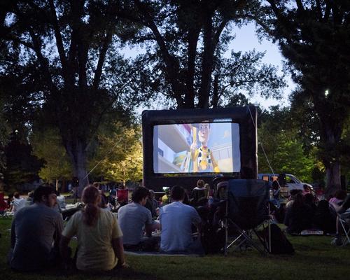 Michael Mangum     Special to the Tribune  Moviegoers watch