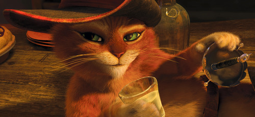In this image released by Paramount Pictures, Puss in Boots, voiced by Antonio Banderas, is shown in a scene from