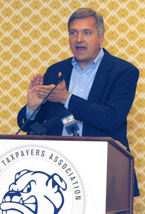 Al Hartmann  |  The Salt Lake Tribune Congressman Jim Matheson who is running for Utah's newest congressional seat speaks to members of the Utah Taxpayers Association conference at Little America Hotel Tuesday May 22.