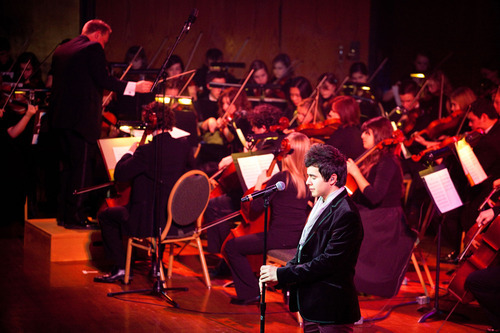 The American Heritage Lyceum Philharmonic performing at the David Archuleta Christmas concert in 2011.  Courtesy Luke Isley