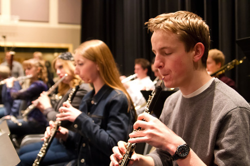 Oboists Alison Kelly and Matthew Shawcroft rehearsing with the American Heritage Lyceum Philharmonic youth orchestra in 2012. (Courtesy photography by Pete Hansen)