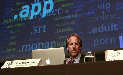 Internet Corporation for Assigned Names and Numbers, ICANN,  President and Chief Executive Rod Beckstrom speaks on expanding the number of domain name suffixes during a press conference, London, Wednesday June 13, 2012. Proposals for Internet addresses ending in