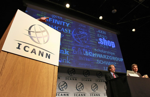 Internet Corporation for Assigned Names and Numbers, ICANN,  President and Chief Executive Rod Beckstrom, left, and Kurt Pritz, Senior Vice President speaks on expanding the number of domain name suffixes during a press conference, London, Wednesday June 13, 2012. Proposals for Internet addresses ending in