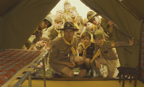 Scoutmaster Randy (Edward Norton, foreground) and his Khaki Scouts discover that one of their number has gone missing in Wes Anderson's