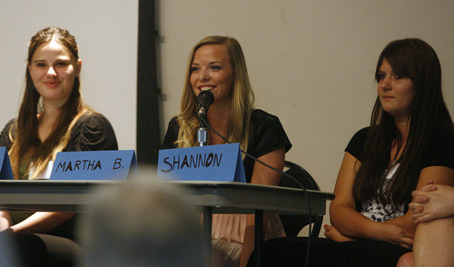 Scott Sommerdorf  |  The Salt Lake Tribune              Nicole Kingston (now Mafi), left, Liesl D., and Martha Barlow, right,  were part of a panel discussion at the annual conference of the polygamy-focused Safety Net committee focused on youth from polygamous communities, Friday, June 15, 2012.