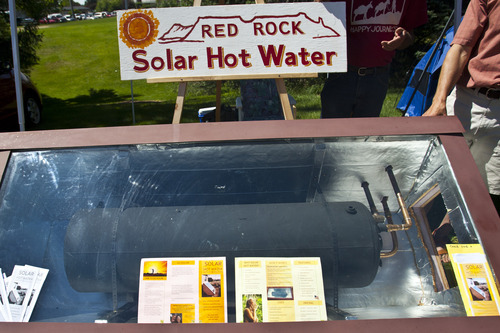 Chris Detrick  |  The Salt Lake Tribune A solar hot water heater on display during Utah Clean Energy's second annual Solar Day at Canyon Rim Park Saturday June 16, 2012.