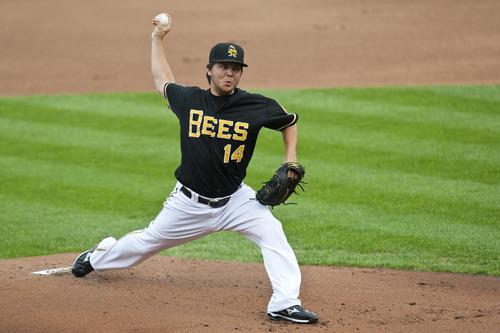 Chris Detrick  |  The Salt Lake Tribune Salt Lake Bees pitcher Eddie McKiernan pitches during the game against Fresno Grizzlies at Spring Mobile Ballpark Friday June 15, 2012.