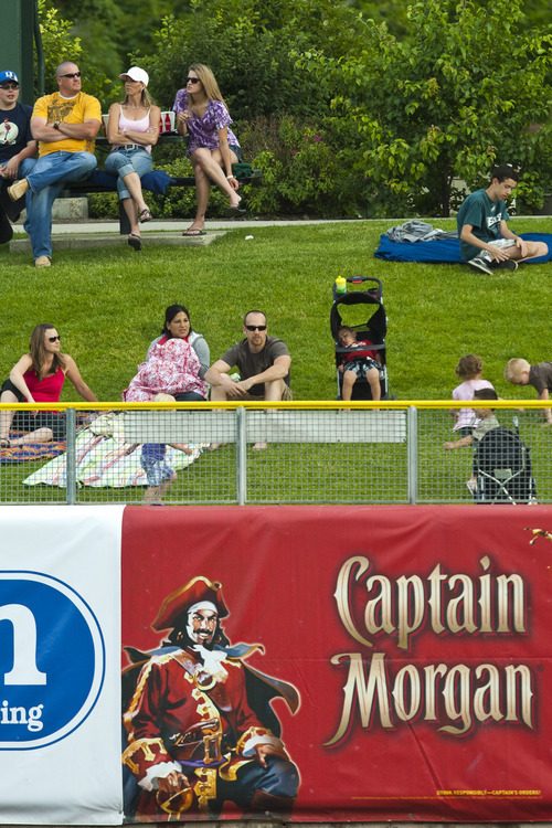 Chris Detrick  |  The Salt Lake Tribune Salt Lake Bees fans watch the game against Fresno Grizzlies at Spring Mobile Ballpark Friday June 15, 2012.