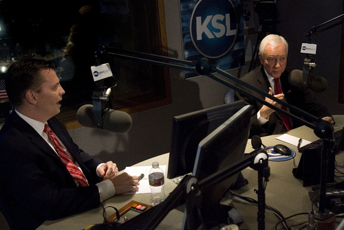 Dan Liljenquist and Sen. Orrin Hatch participate in a debate at KSL in Salt Lake City  on Friday, June 15, 2012. (AP PHOTO/Laura Seitz, Pool photo, Deseret News)