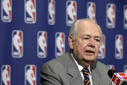 FILE - In this April 13, 2012, file photo, New Orleans Hornets owner Tom Benson answers questions at a news conference after the NBA Board of Governors meetings in New York. The Hornets won the lottery for the league's No. 1 draft pick, Wednesday, May 30, in New York. (AP Photo/Richard Drew, File)