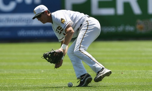 Kim Raff | The Salt Lake Tribune Salt Lake Bees player Ed Lucas bobbles a ground ball during a game against the Fresno Grizzlies at Spring Mobile Ballpark in Salt Lake City on June 17, 2012.