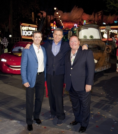From left: Tom Staggs, Chairman of Walt Disney Parks and Resorts, Robert A. Iger, Chairman and CEO of The Walt Disney Co. and John Lasseter, Chief Creative Officer of Walt Disney and Pixar Animation Studio, and Principal Creative Advisor for Walt Disney Imagineering, pose June 13, 2012 following the gala opening of Cars Land at Disney California Adventure park at Disneyland Resort in Anaheim, Calif.  Cars Land features three immersive family attractions showcasing characters and settings from the Disney-Pixar film,