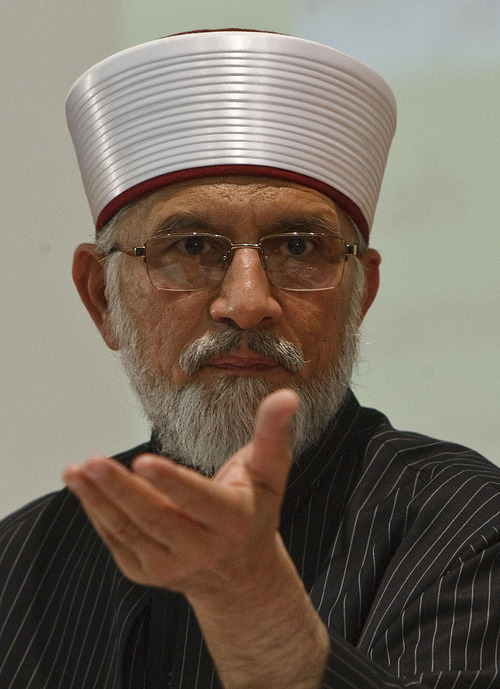 Leah Hogsten  |  The Salt Lake Tribune Muslim scholar Muhammad Tahir ul Qadri, a Pakistani cleric who issued a 2010 fatwa condemning terrorism and suicide bombings as contrary to Islamic law delivers his lecture