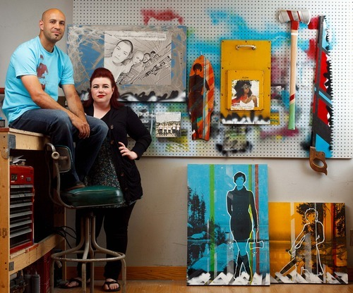 Trent Nelson  |  The Salt Lake Tribune Blake and Cat Palmer, artists who are married to each other, in their studio Wednesday, June 13, 2012 in Salt Lake City. They will both be displaying their art in adjoining booths at the Utah Arts Festival.