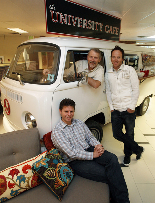Francisco Kjolseth  |  The Salt Lake Tribune Scott Smith, center and his son Ryan, right, along with co-founder Stuart Orgill give an old VW Bus new life as a snack bar in the lobby of their software company Qualtrics in Provo. The company which makes online survey software recently got $70 million in first round venture capital and are a hot company growing in Utah county.