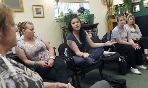 Al Hartmann  |  The Salt Lake Tribune  Jennifer Rhoades, center, talks about her progress in quitting smoking during a group therapy session with other women in treatment for drug addiction at the House of Hope in Salt Lake City.  Utah has launched a major cultural change in every publicly-funded facility that treats substance abuse or mental illness. Smoking will no longer be allowed anywhere on campus, and all clients who smoke will be offered help to quit. House of Hope already banned smoking.
