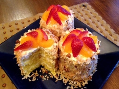 Carmell Childs, of Provo, is one of three finalists in a recipe contest sponsored by Del Monte for her Mandarin tin-can tower cake. The recipe gets its name because she uses a tin can to cut the round shape of her layered mini-cakes. Courtesy Del Monte